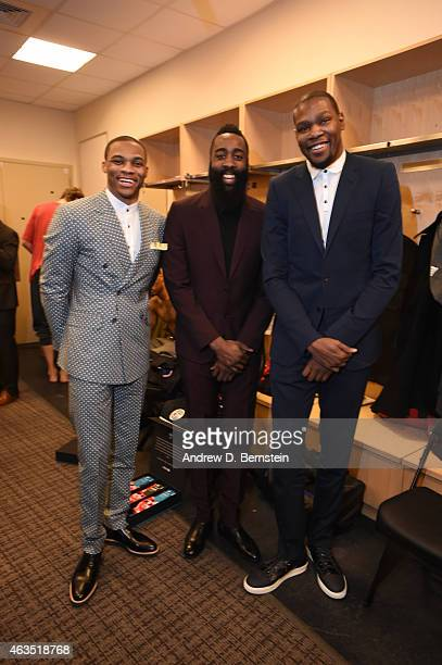 Russell Westbrook James Harden and Kevin Durant of the Western Conference AllStars smiles for a photo in the locker room prior to the game against...