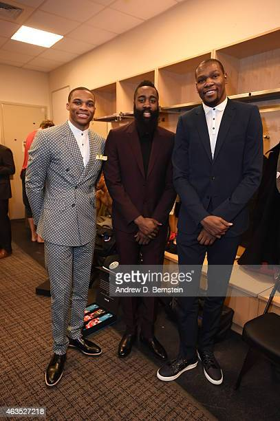 Russell Westbrook James Harden and Kevin Durant of the Western Conference AllStars before the game against the Eastern Conference AllStar in the 2015...