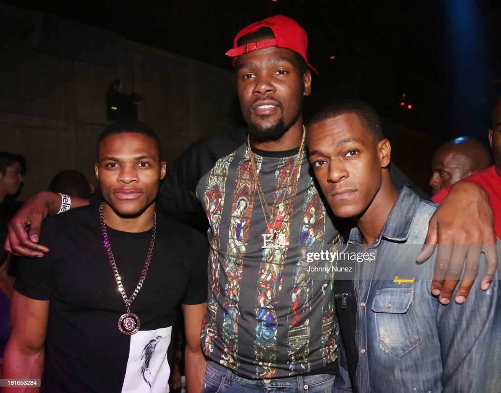 Russell Westbrook, Kevin Durant and Rajon Rondo attend Kevin Durant's 25th Birthday Party Avenue Club on September 22, 2013 in New York City.