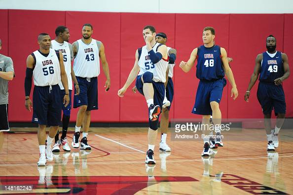 Russell Westbrook Kevin Love Blake Griffin and James Harden of the US Men's Senior National Team warms up during training camp on July 7 2012 in Las...