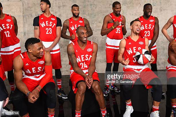 Russell Westbrook Kobe Bryant and Stephen Curry shares a laugh as part of NBA AllStar 2016 on February 14 2016 at the Air Canada Centre in Toronto...