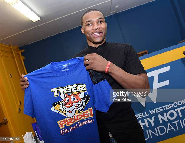 Russell Westbrook launches 'RUSSELL'S READING ROOM' at 75th Street Elementary on August 21 2015 in Los Angeles California