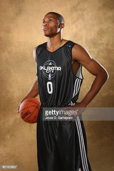 Russell Westbrook of Oklahoma City poses for a portrait during the 2008 NBA Rookie Photo Shoot on July 29 2008 at the MSG Training Facility in...