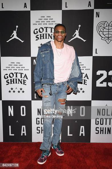 Russell Westbrook of Oklahoma City Thunder attends Jordan Brand 2017 AllStar Party at Seven Three Distilling Co on February 17 2017 in New Orleans...