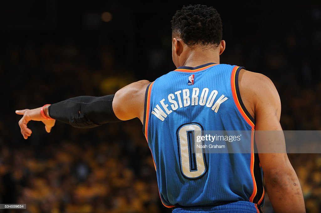 <a gi-track='captionPersonalityLinkClicked' href=/galleries/search?phrase=Russell+Westbrook&family=editorial&specificpeople=4044231 ng-click='$event.stopPropagation()'>Russell Westbrook</a> #0 of the Oklahoma City Thunder after a play against the Golden State Warriors during Game Five of the Western Conference Finals during the 2016 NBA Playoffs on May 26, 2016 at ORACLE Arena in Oakland, California.