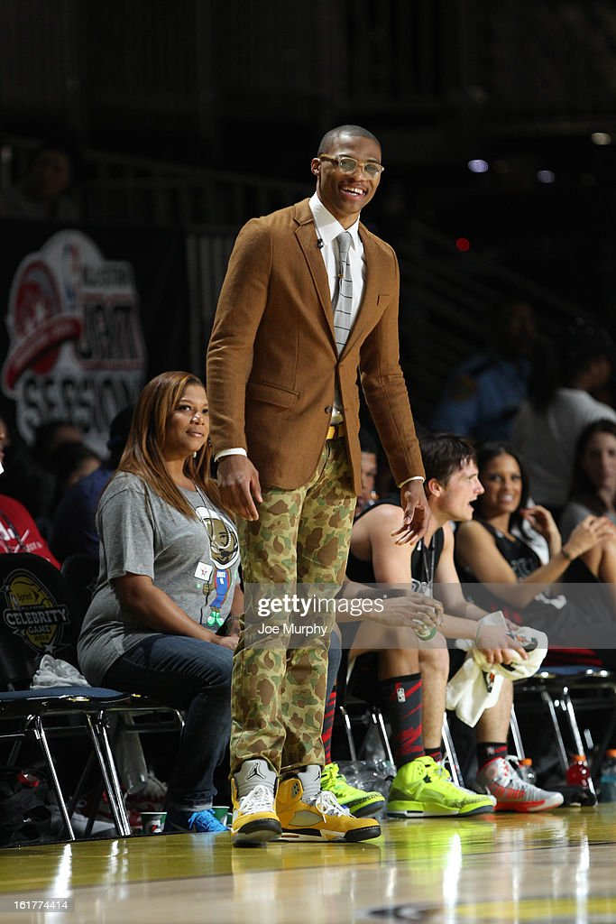 Russell Westbrook of the Oklahoma City Thunder and Coach of the East reacts to a play against the West team during the Sprint NBA All-Star Celebrity Game in Sprint Arena at Jam Session during the NBA All-Star Weekend on February 15, 2013 at the George R. Brown Convention Center in Houston, Texas.