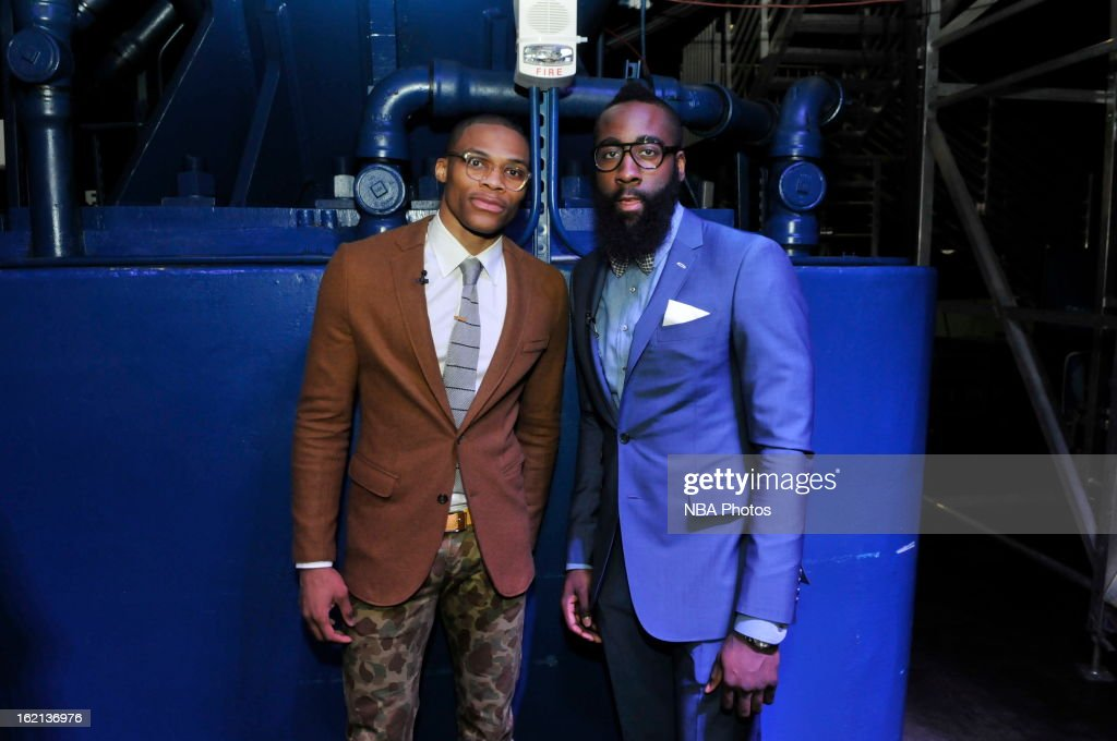 <a gi-track='captionPersonalityLinkClicked' href=/galleries/search?phrase=Russell+Westbrook&family=editorial&specificpeople=4044231 ng-click='$event.stopPropagation()'>Russell Westbrook</a> of the Oklahoma City Thunder and <a gi-track='captionPersonalityLinkClicked' href=/galleries/search?phrase=James+Harden&family=editorial&specificpeople=4215938 ng-click='$event.stopPropagation()'>James Harden</a> of the Houston Rockets pose for a photo during the Sprint NBA All-Star Celebrity Game in Sprint Arena at Jam Session during the NBA All-Star Weekend on February 15, 2013 at the George R. Brown Convention Center in Houston, Texas.