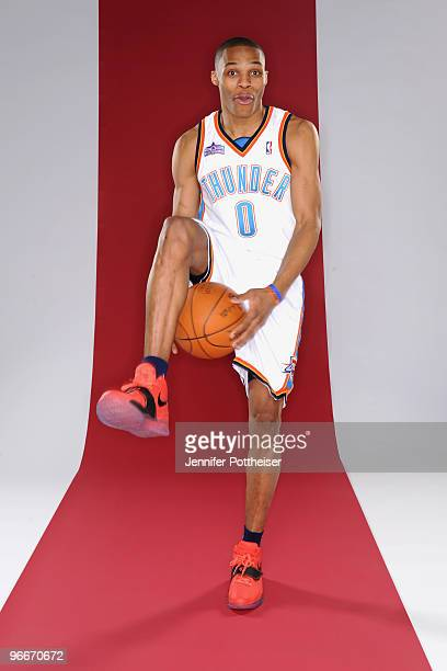Russell Westbrook of the Oklahoma City Thunder and participant in the Taco Bell Skills Challenge poses for a portrait during AllStar Saturday Night...