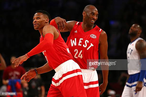 Russell Westbrook of the Oklahoma City Thunder and the Western Conference and Kobe Bryant of the Los Angeles Lakers and the Western Conference...
