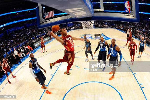 Russell Westbrook of the Oklahoma City Thunder and the Western Conference dunks during the 2012 NBA AllStar Game at the Amway Center on February 26...
