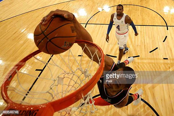 Russell Westbrook of the Oklahoma City Thunder and the Western Conference dunks the ball during the 2015 NBA AllStar Game at Madison Square Garden on...