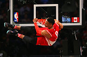 Russell Westbrook of the Oklahoma City Thunder and the Western Conference dunks in the first quarter against the Eastern Conference during the NBA...