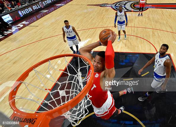 Russell Westbrook of the Oklahoma City Thunder and the Western Conference dunks in the second half against the Eastern Conference during the NBA...