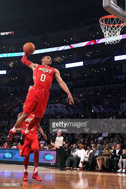 Russell Westbrook of the Oklahoma City Thunder and the Western Conference goes up to dunk the ball in the first half in the 2011 NBA AllStar Game at...