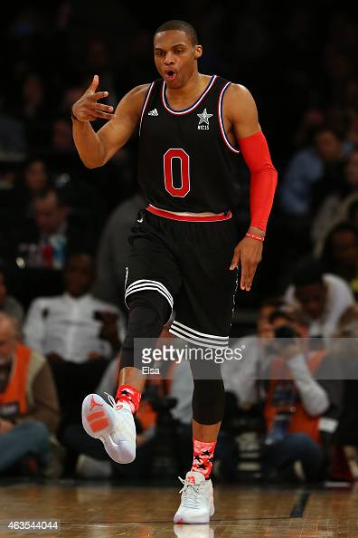 Russell Westbrook of the Oklahoma City Thunder and the Western Conference celebrates during the 2015 NBA AllStar Game at Madison Square Garden on...