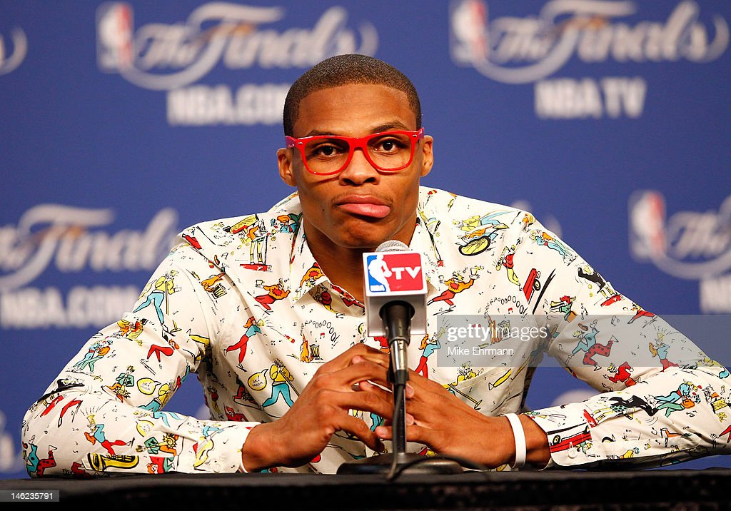 <a gi-track='captionPersonalityLinkClicked' href=/galleries/search?phrase=Russell+Westbrook&family=editorial&specificpeople=4044231 ng-click='$event.stopPropagation()'>Russell Westbrook</a> #0 of the Oklahoma City Thunder answers questions after the Thunder defeat the Miami Heat 105-94 in Game One of the 2012 NBA Finals at Chesapeake Energy Arena on June 12, 2012 in Oklahoma City, Oklahoma.