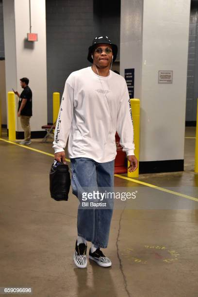 Russell Westbrook of the Oklahoma City Thunder arrives at the Toyota Center before the game against the Houston Rockets during the game on March 26...
