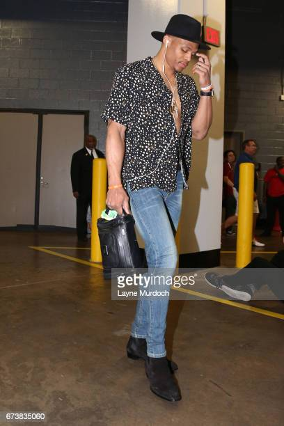 Russell Westbrook of the Oklahoma City Thunder arrives at Toyota Center before Game Five of the Western Conference Quarterfinals against the Houston...