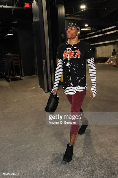 Russell Westbrook of the Oklahoma City Thunder arrives before the game against the Los Angeles Lakers on January 8 2016 at STAPLES Center in Los...