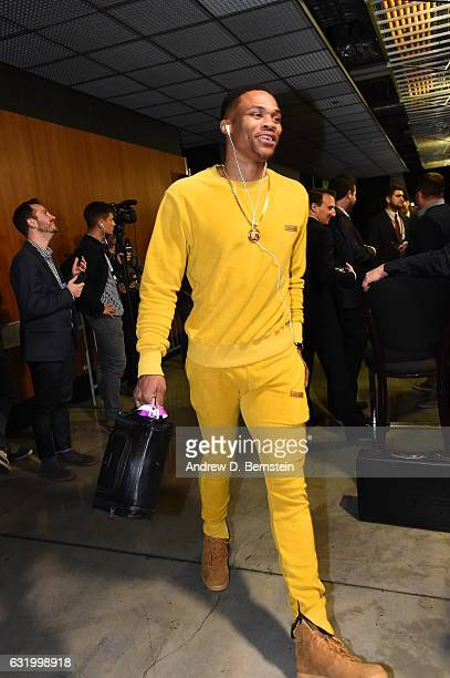 Russell Westbrook of the Oklahoma City Thunder arrives before the game against the Los Angeles Clippers on January 16 2017 at STAPLES Center in Los...