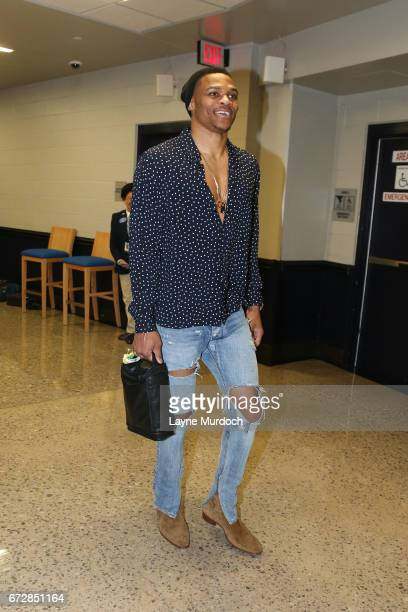 Russell Westbrook of the Oklahoma City Thunder arrives before the Western Conference Quarterfinals game against the Houston Rockets of the 2017 NBA...