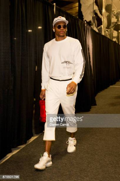 Russell Westbrook of the Oklahoma City Thunder arrives to the stadium on November 17 2017 at the ATT Center in San Antonio Texas NOTE TO USER User...