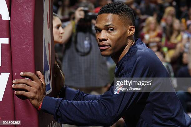 Russell Westbrook of the Oklahoma City Thunder before the game against the Cleveland Cavaliers on December 17 2015 at Quicken Loans Arena in...