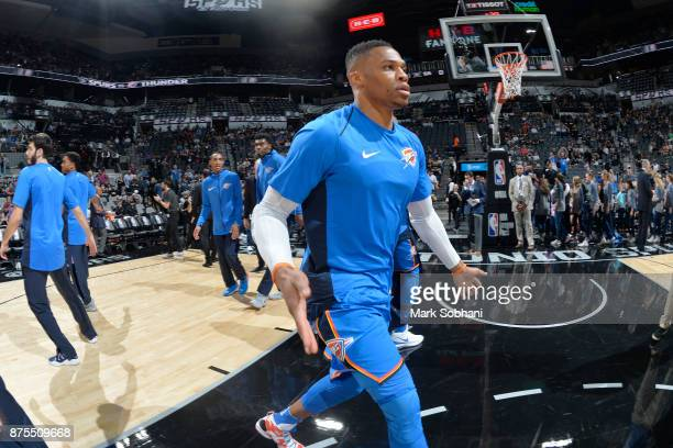 Russell Westbrook of the Oklahoma City Thunder before the game against the San Antonio Spurs on November 17 2017 at the ATT Center in San Antonio...