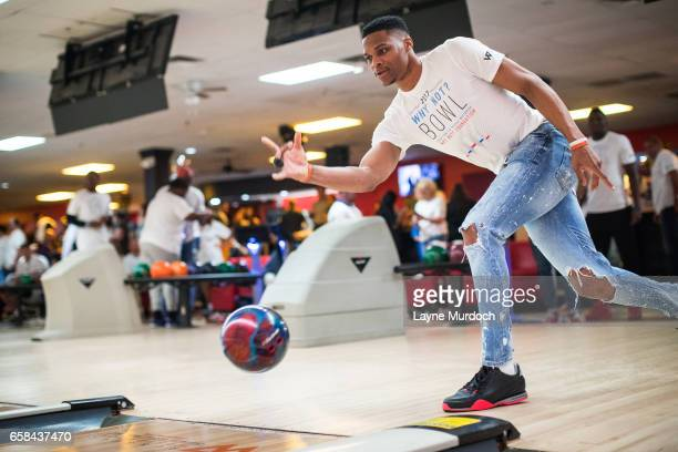 Russell Westbrook of the Oklahoma City Thunder bowls during his 7th annual Why Not Foundation bowling event on March 24 2017 at the AMF Boulevard...