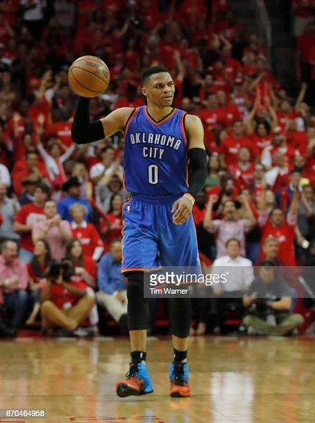 Russell Westbrook of the Oklahoma City Thunder brings the ball down the court in the second half against the Houston Rockets during Game Two of the...