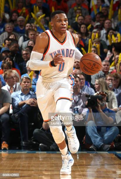 Russell Westbrook of the Oklahoma City Thunder brings the ball up court en route to the first ever perfect triple double in NBA history against the...
