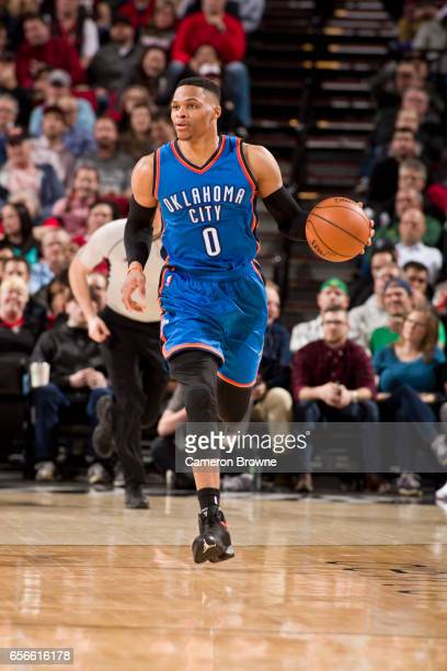 Russell Westbrook of the Oklahoma City Thunder brings the ball up court during the game against the Portland Trail Blazers on March 2 2017 at the...