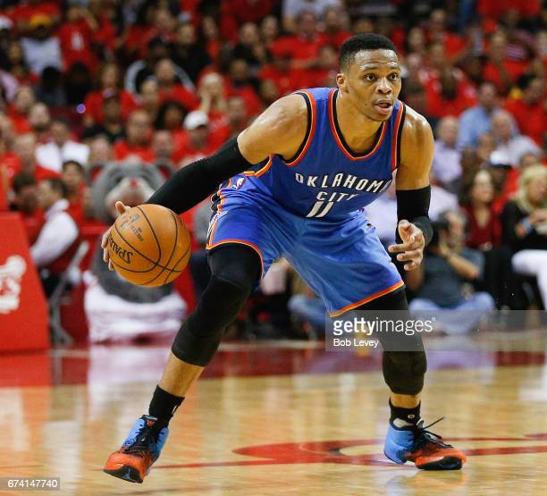 Russell Westbrook of the Oklahoma City Thunder brings the ball up the court against the Houston Rockets during Game Five of the Western Conference...