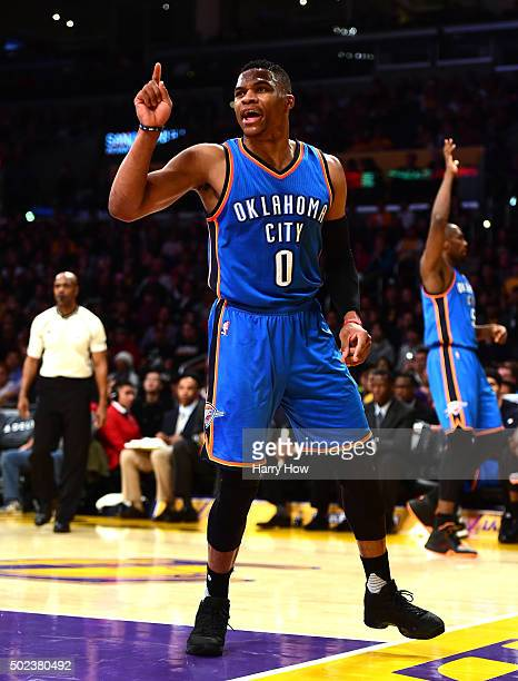 Russell Westbrook of the Oklahoma City Thunder calls for a foul after his shot during the first half against the Los Angeles Lakers at Staples Center...