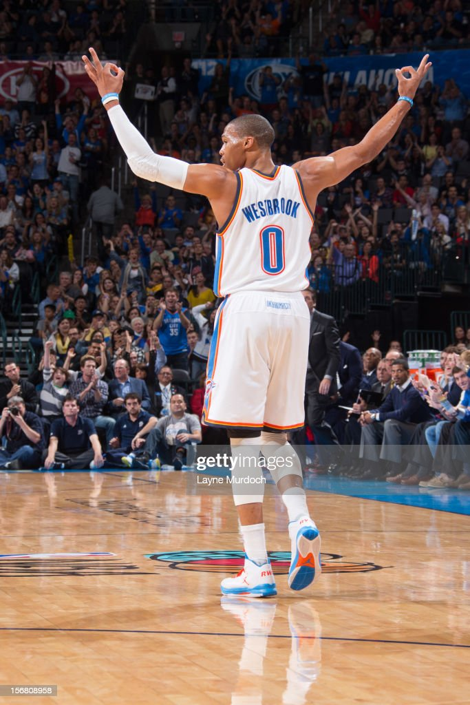 Russell Westbrook #0 of the Oklahoma City Thunder celebrates a three-pointer by his team against the Los Angeles Clippers on November 21, 2012 at the Chesapeake Energy Arena in Oklahoma City, Oklahoma.