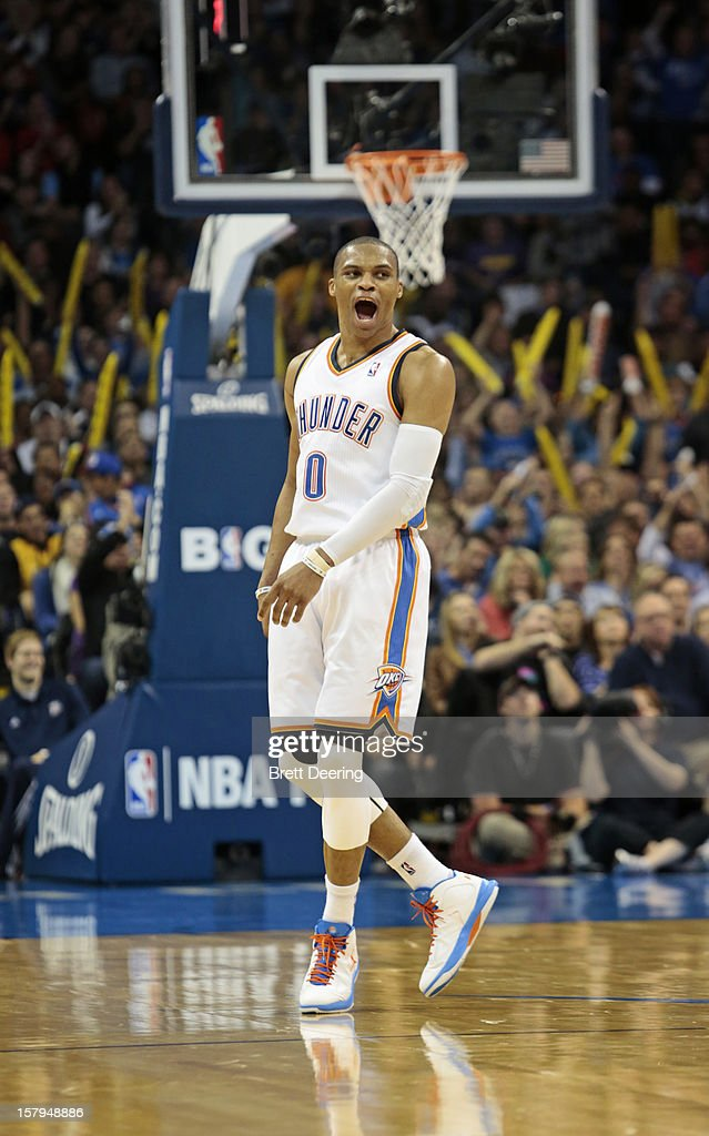 Russell Westbrook #0 of the Oklahoma City Thunder celebrates a score against the Los Angeles Lakers December 7, 2012 at Chesapeake Energy Arena in Oklahoma City, Oklahoma. Oklahoma City defeated Los Angeles 114-108.
