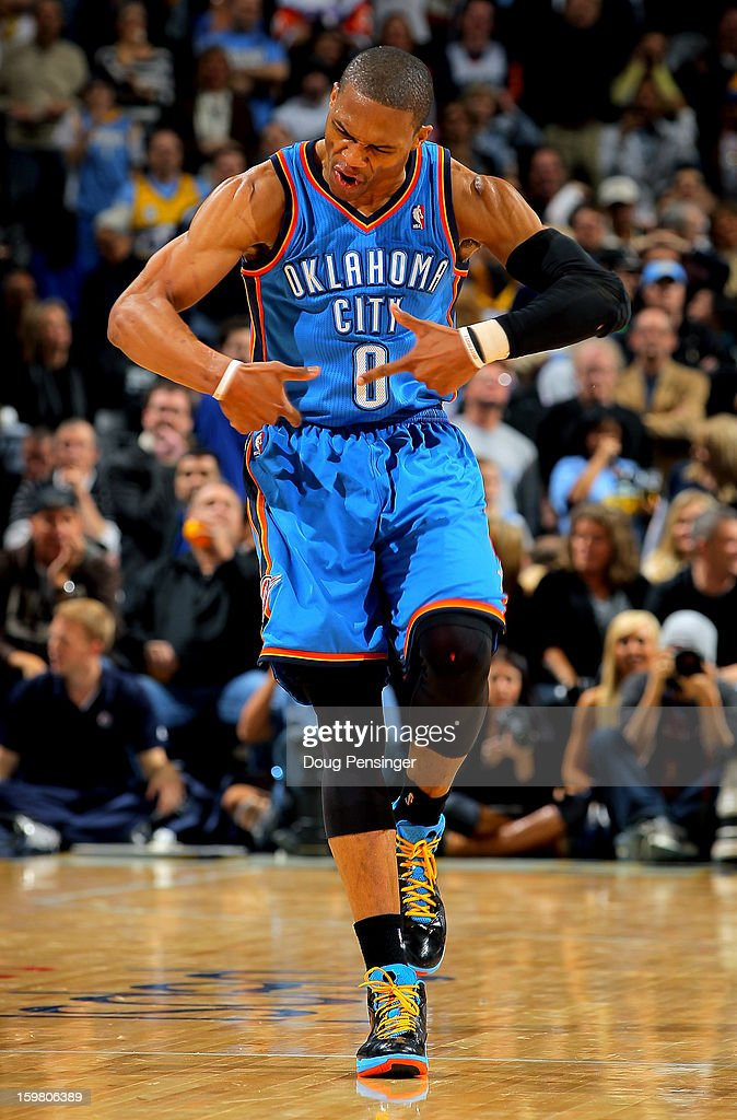 Russell Westbrook #0 of the Oklahoma City Thunder celebrates after making a shot against the Denver Nuggets at the Pepsi Center on January 20, 2013 in Denver, Colorado. The Nuggets defeated the Thunder 121-118 in overtime.