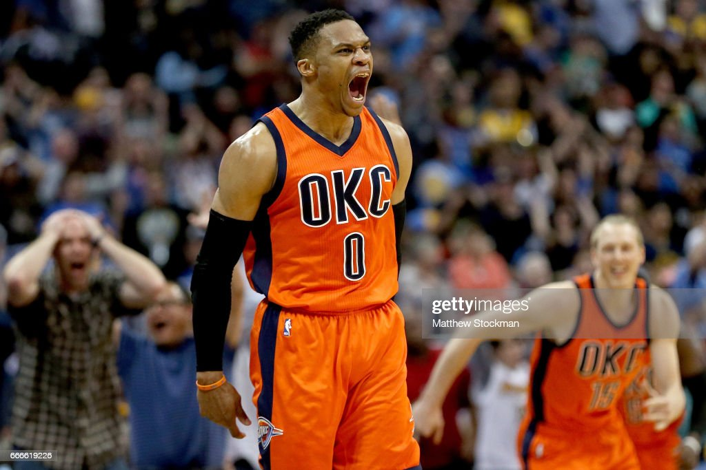 Russell Westbrook #0 of the Oklahoma City Thunder celebrates after scoring a game-winning, three-point shot at the buzzer against the Denver Nuggets at Pepsi Center on April 9, 2017 in Denver, Colorado.