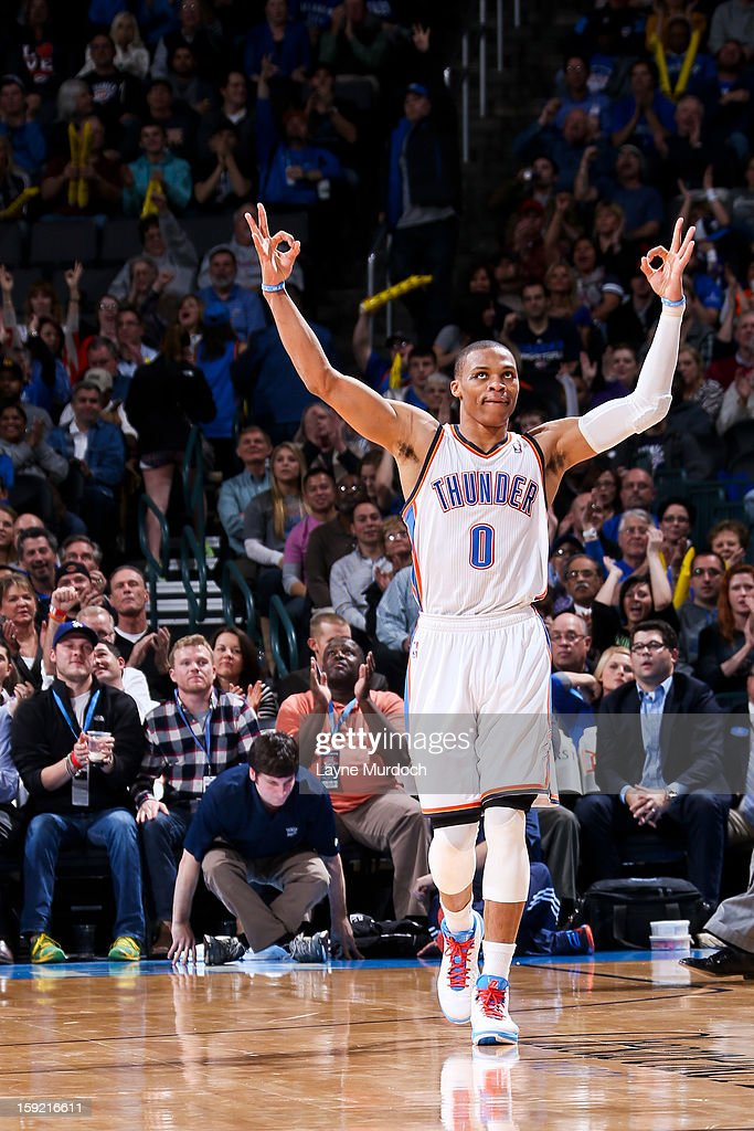 Russell Westbrook #0 of the Oklahoma City Thunder celebrates after his team made a three-pointer against the Minnesota Timberwolves on January 9, 2013 at the Chesapeake Energy Arena in Oklahoma City, Oklahoma.