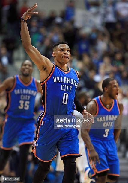 Russell Westbrook of the Oklahoma City Thunder celebrates after scoring against the Dallas Mavericks in the second half at American Airlines Center...