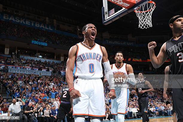 Russell Westbrook of the Oklahoma City Thunder celebrates against the Phoenix Suns on October 28 2016 at the Chesapeake Energy Arena in Oklahoma City...