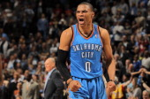 Russell Westbrook of the Oklahoma City Thunder celebrates as the Thunder defeat the Denver Nuggets 9794 in Game Three of the Western Conference...