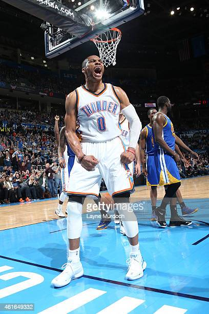 Russell Westbrook of the Oklahoma City Thunder celebrates during a game against the Golden State Warriors on January 16 2015 at Chesapeake Energy...