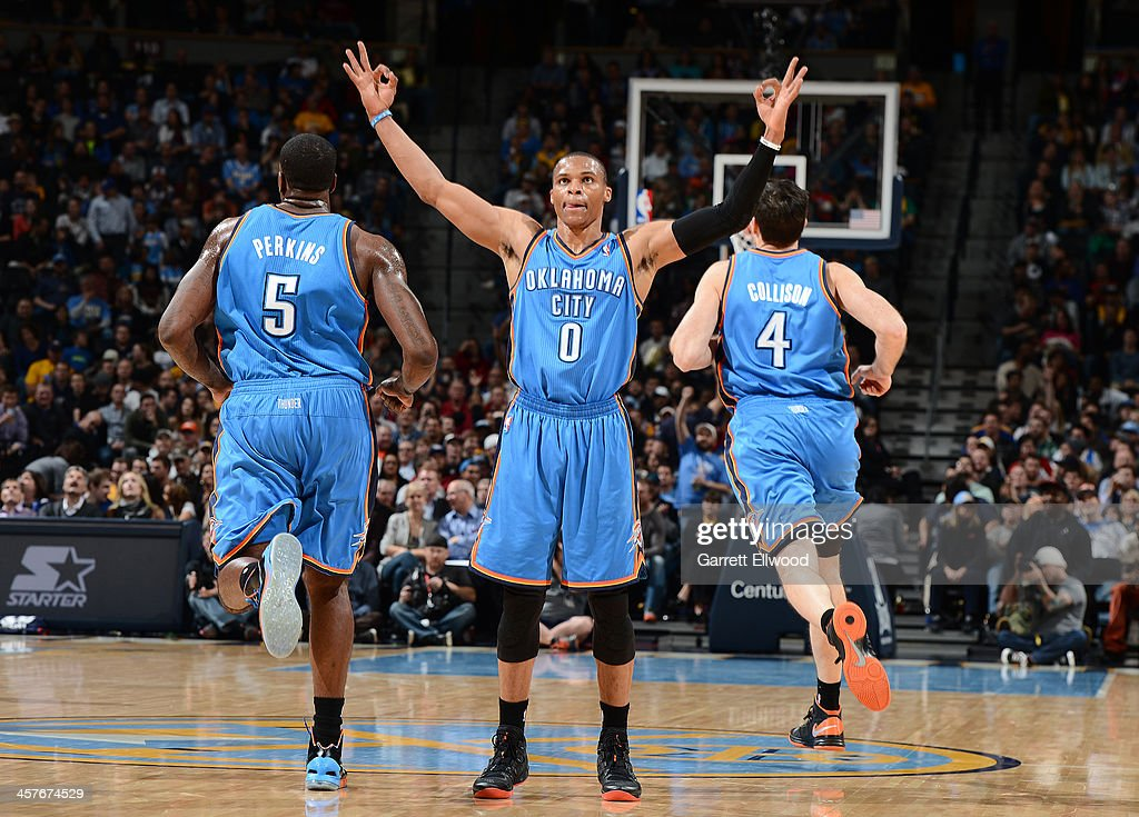 <a gi-track='captionPersonalityLinkClicked' href=/galleries/search?phrase=Russell+Westbrook&family=editorial&specificpeople=4044231 ng-click='$event.stopPropagation()'>Russell Westbrook</a> #0 of the Oklahoma City Thunder celebrates during the game against the Denver Nuggets on December 17, 2013 at the Pepsi Center in Denver, Colorado.