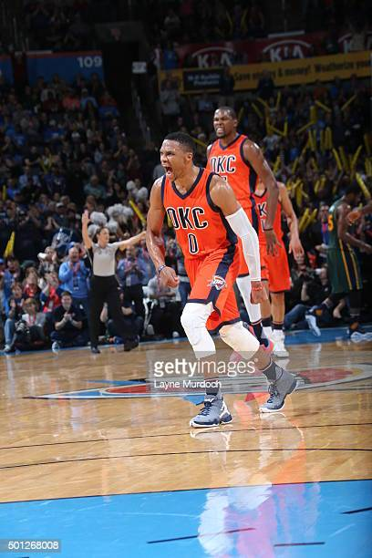 Russell Westbrook of the Oklahoma City Thunder celebrates during the game against the Utah Jazz on December 13 2015 at Chesapeake Energy Arena in...