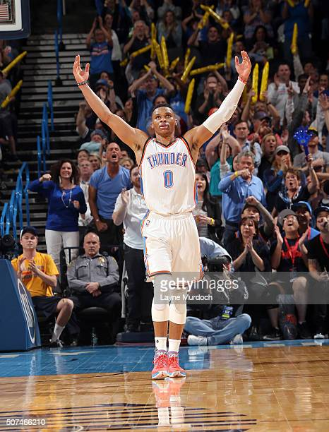 Russell Westbrook of the Oklahoma City Thunder celebrates during the game against the Houston Rockets on January 29 2016 at Chesapeake Energy Arena...