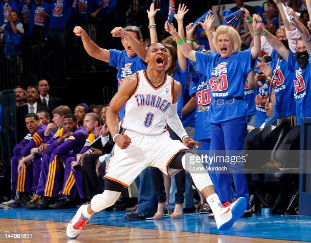 Russell Westbrook of the Oklahoma City Thunder celebrates in Game Five of the Western Conference Semifinals between the Los Angeles Lakers and the...