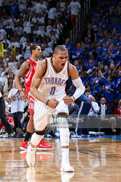 Russell Westbrook of the Oklahoma City Thunder celebrates while playing against the Houston Rockets in Game Two of the Western Conference...