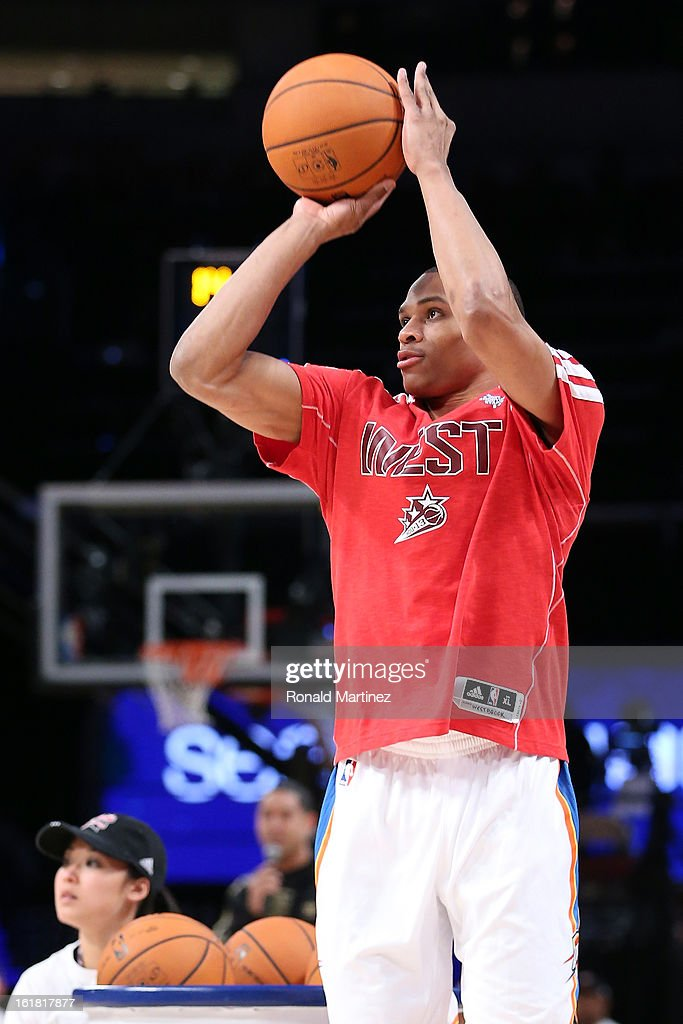 Russell Westbrook of the Oklahoma City Thunder competes during the Sears Shooting Stars Competition part of 2013 NBA All-Star Weekend at the Toyota Center on February 16, 2013 in Houston, Texas.