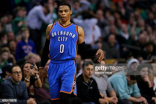 Russell Westbrook of the Oklahoma City Thunder dances to celebrate hitting a three point shot against the Boston Celtics during the fourth quarter at...
